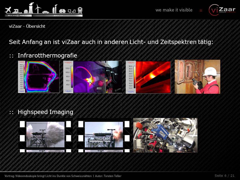 Seite 6 / 21 Seit Anfang an ist viZaar auch in anderen Licht- und Zeitspektren tätig: :: Infrarotthermografie :: Highspeed Imaging viZaar - Übersicht