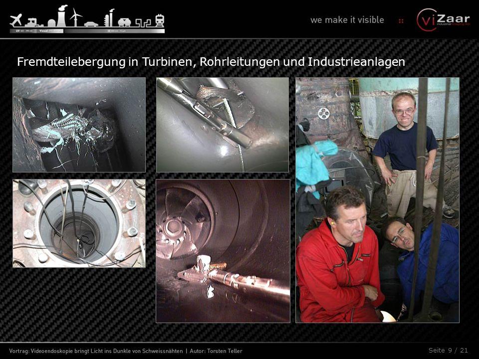 Fehler beim Endoskopieren orbitaler Rohrschweißnähte: Kamerakopf nicht zentriert I Perspektivischer Fehler: Scope liegt im Rohrboden.