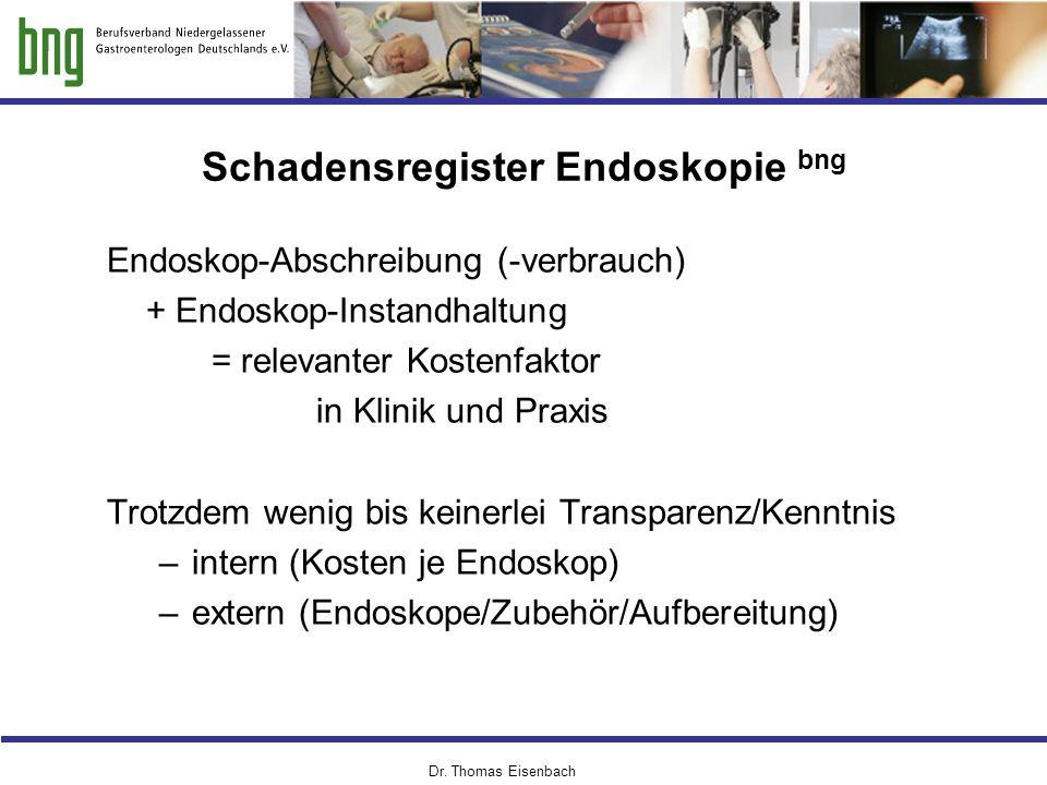Dr. Thomas Eisenbach Schadensregister Endoskopie bng Endoskop-Abschreibung (-verbrauch) + Endoskop-Instandhaltung = relevanter Kostenfaktor in Klinik