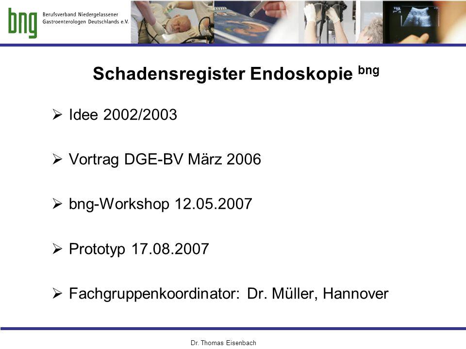 Dr. Thomas Eisenbach Schadensregister Endoskopie bng  Idee 2002/2003  Vortrag DGE-BV März 2006  bng-Workshop 12.05.2007  Prototyp 17.08.2007  Fac