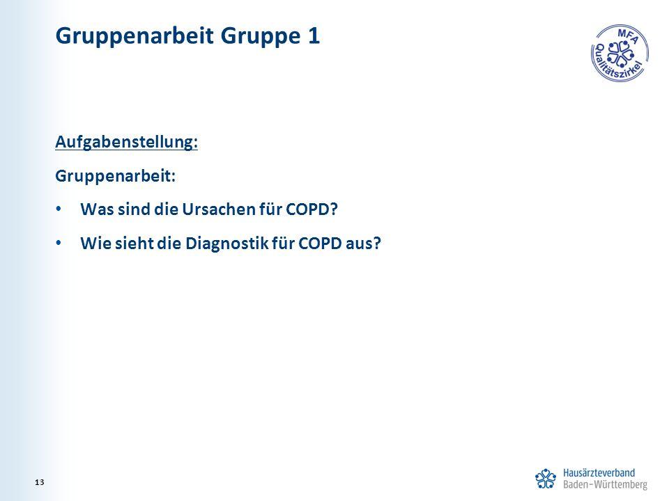 Gruppenarbeit Gruppe 1 Aufgabenstellung: Gruppenarbeit: Was sind die Ursachen für COPD? Wie sieht die Diagnostik für COPD aus? 13