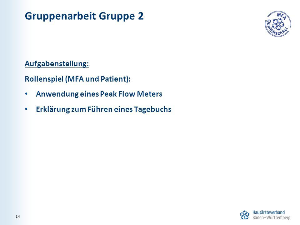 Gruppenarbeit Gruppe 2 Aufgabenstellung: Rollenspiel (MFA und Patient): Anwendung eines Peak Flow Meters Erklärung zum Führen eines Tagebuchs 14