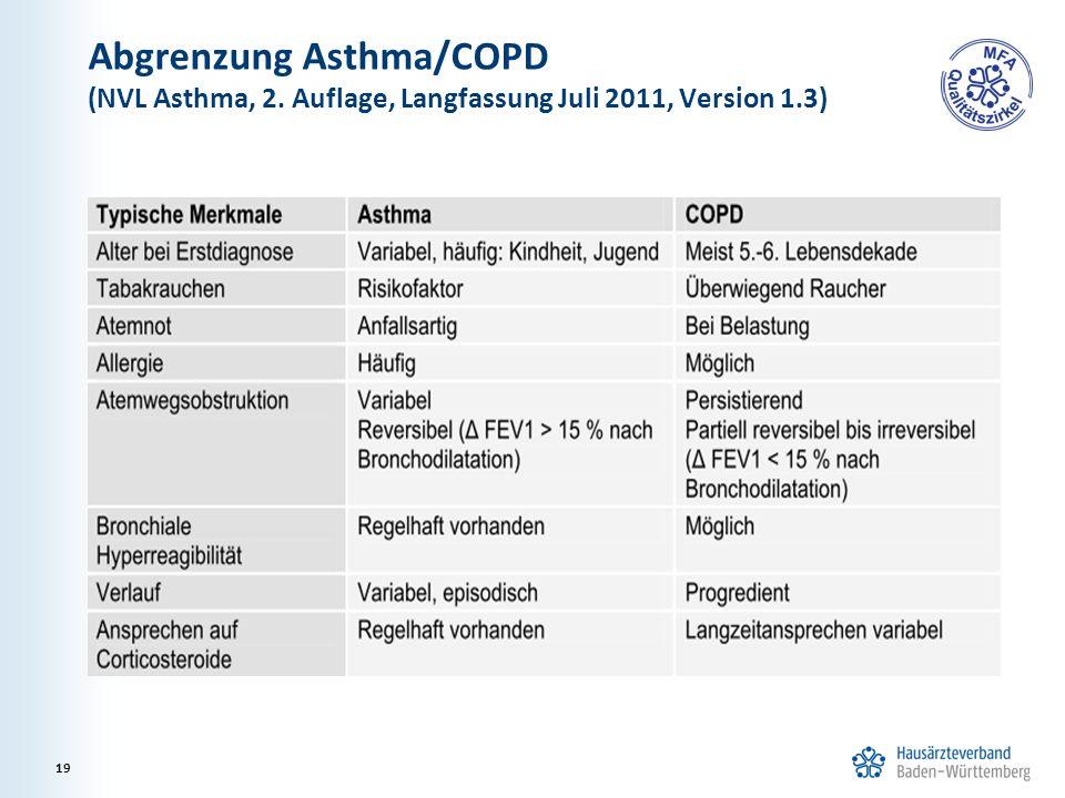 Abgrenzung Asthma/COPD (NVL Asthma, 2. Auflage, Langfassung Juli 2011, Version 1.3) 19
