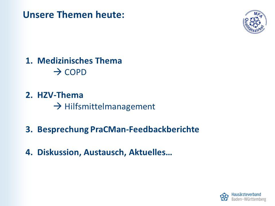 1. Medizinisches Thema  COPD 2. HZV-Thema  Hilfsmittelmanagement 3. Besprechung PraCMan-Feedbackberichte 4. Diskussion, Austausch, Aktuelles… Unsere