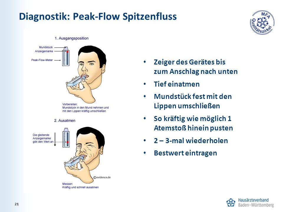 Diagnostik: Peak-Flow Spitzenfluss Zeiger des Gerätes bis zum Anschlag nach unten Tief einatmen Mundstück fest mit den Lippen umschließen So kräftig w