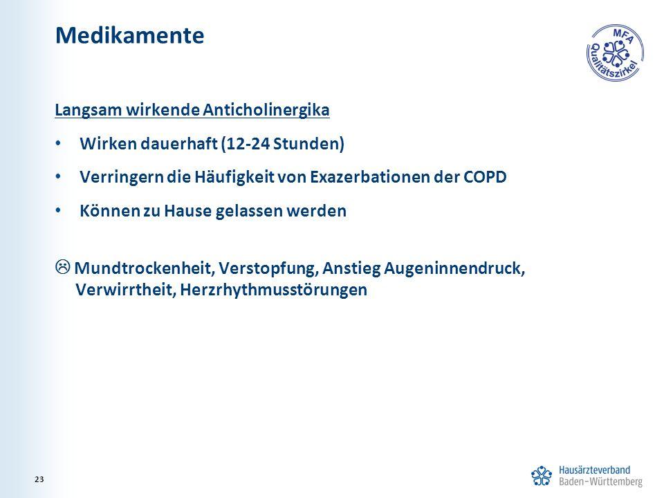 Medikamente Langsam wirkende Anticholinergika Wirken dauerhaft (12-24 Stunden) Verringern die Häufigkeit von Exazerbationen der COPD Können zu Hause g