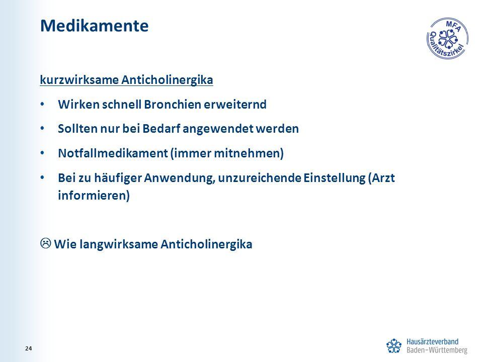 Medikamente kurzwirksame Anticholinergika Wirken schnell Bronchien erweiternd Sollten nur bei Bedarf angewendet werden Notfallmedikament (immer mitneh