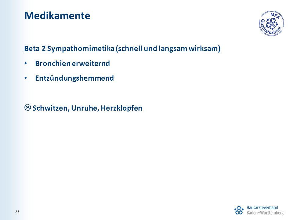 Medikamente Beta 2 Sympathomimetika (schnell und langsam wirksam) Bronchien erweiternd Entzündungshemmend  Schwitzen, Unruhe, Herzklopfen 25