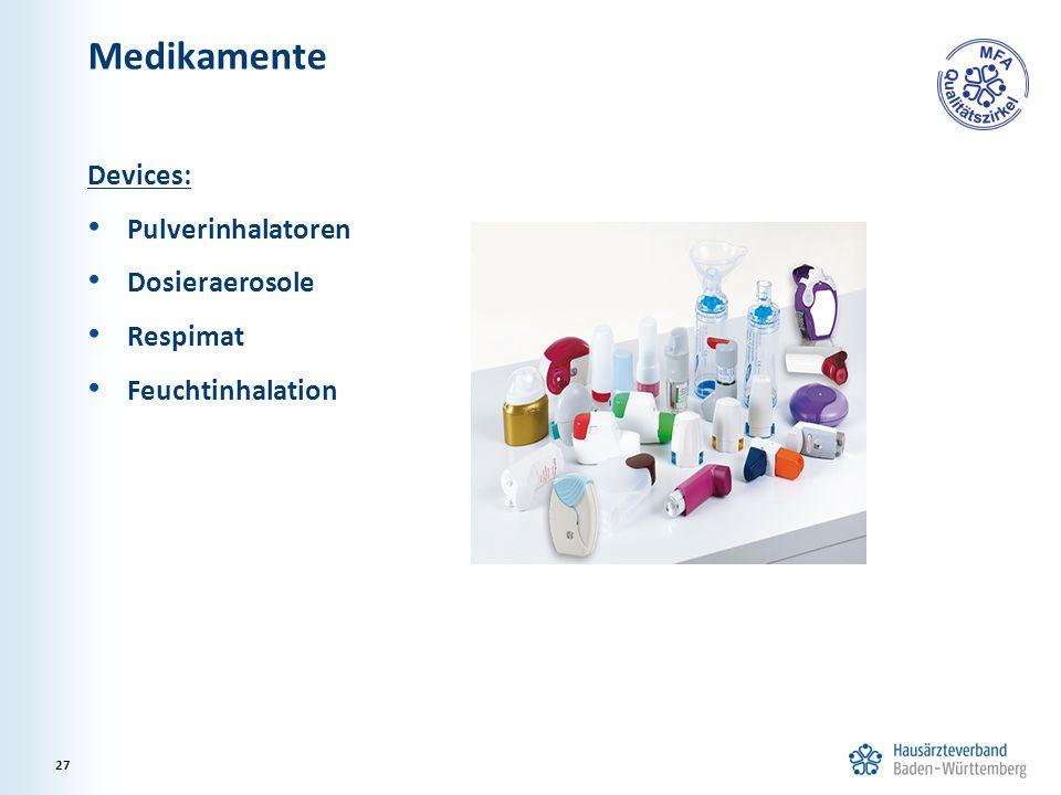 Medikamente Devices: Pulverinhalatoren Dosieraerosole Respimat Feuchtinhalation 27