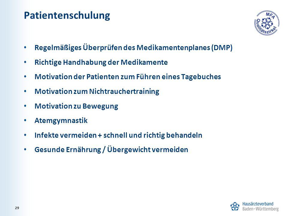 Patientenschulung Regelmäßiges Überprüfen des Medikamentenplanes (DMP) Richtige Handhabung der Medikamente Motivation der Patienten zum Führen eines T
