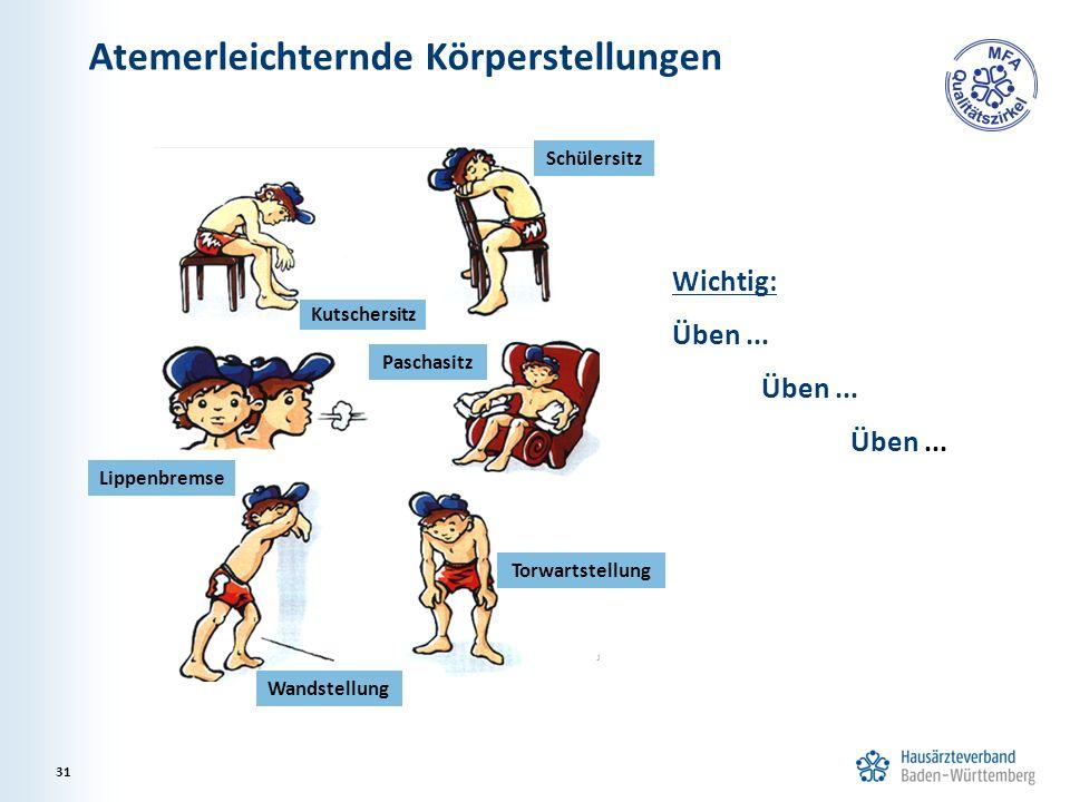 Atemerleichternde Körperstellungen 31 Wichtig: Üben... Schülersitz Kutschersitz Torwartstellung Wandstellung Paschasitz Lippenbremse