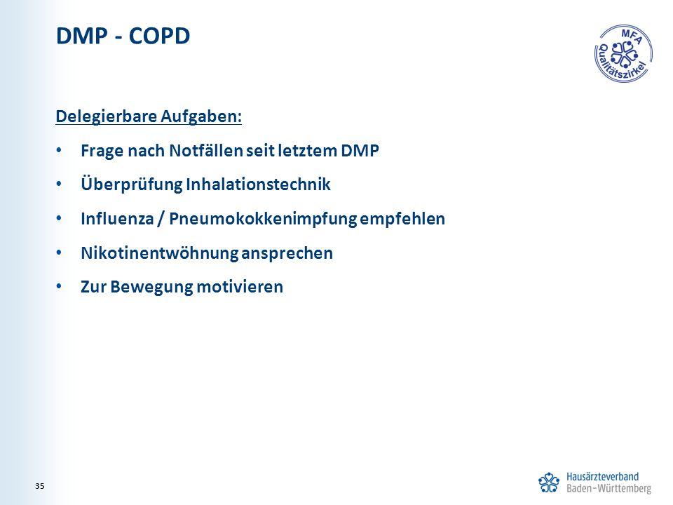 DMP - COPD Delegierbare Aufgaben: Frage nach Notfällen seit letztem DMP Überprüfung Inhalationstechnik Influenza / Pneumokokkenimpfung empfehlen Nikot