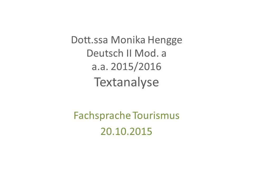 Dott.ssa Monika Hengge Deutsch II Mod.a a.a.
