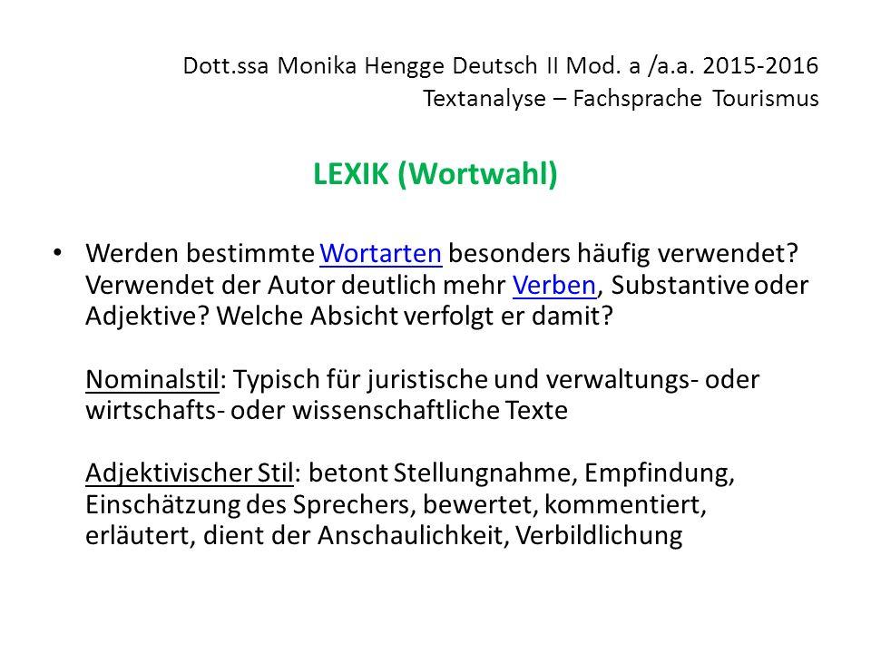 Dott.ssa Monika Hengge Deutsch II Mod. a /a.a.