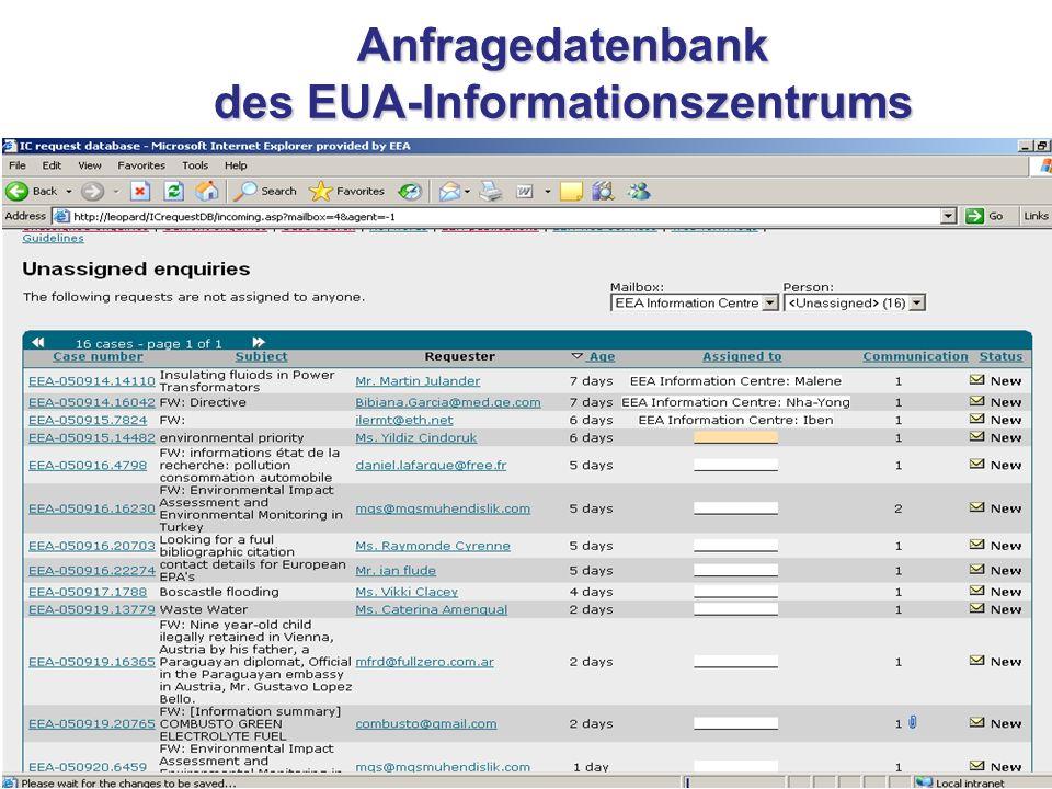 Anfragedatenbank des EUA-Informationszentrums