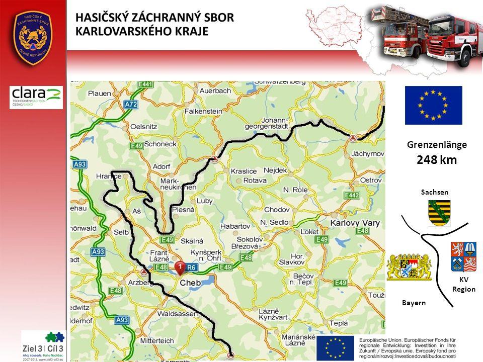 Grenzenlänge 248 km Sachsen Bayern KV Region