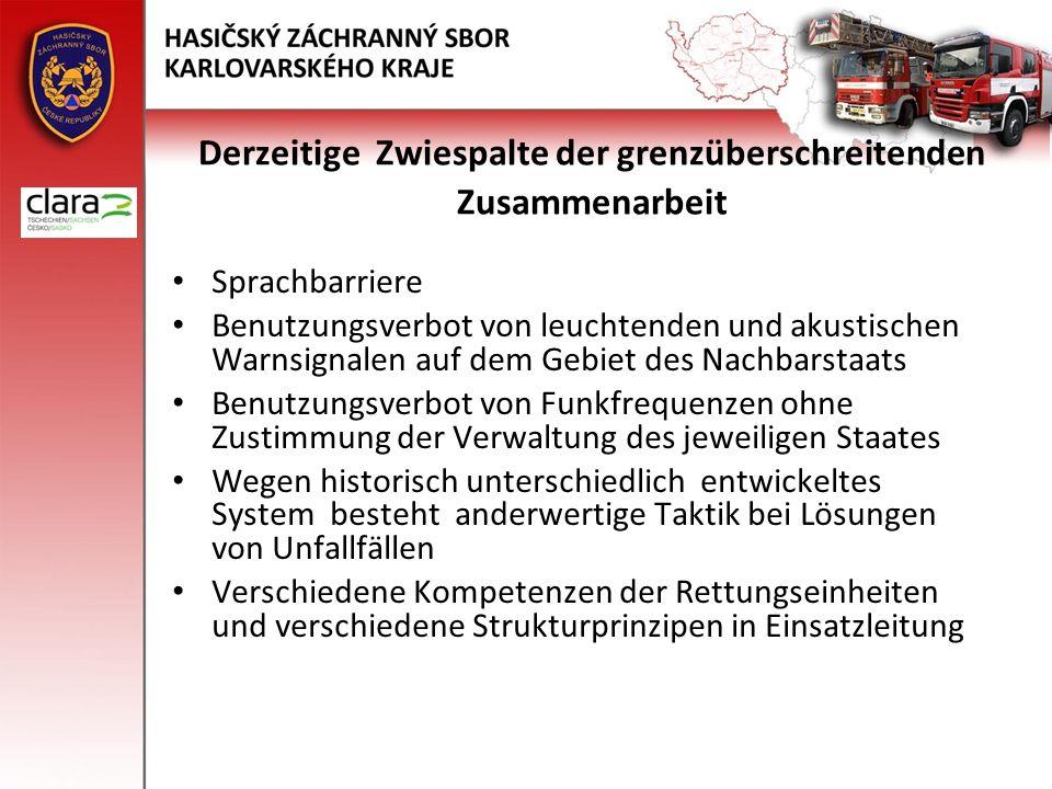Derzeitige Zwiespalte der grenzüberschreitenden Zusammenarbeit Sprachbarriere Benutzungsverbot von leuchtenden und akustischen Warnsignalen auf dem Ge