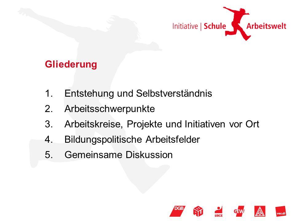 Gliederung 1.Entstehung und Selbstverständnis 2.Arbeitsschwerpunkte 3.Arbeitskreise, Projekte und Initiativen vor Ort 4.Bildungspolitische Arbeitsfelder 5.Gemeinsame Diskussion
