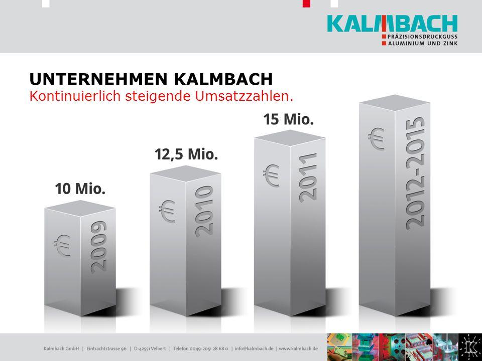 UNTERNEHMEN KALMBACH Kontinuierlich steigende Umsatzzahlen.