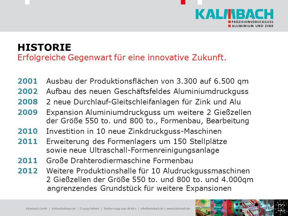 2001 Ausbau der Produktionsflächen von 3.300 auf 6.500 qm 2002 Aufbau des neuen Geschäftsfeldes Aluminiumdruckguss 20082 neue Durchlauf-Gleitschleifan