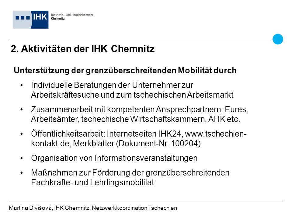 2. Aktivitäten der IHK Chemnitz Martina Divišová, IHK Chemnitz, Netzwerkkoordination Tschechien Unterstützung der grenzüberschreitenden Mobilität durc