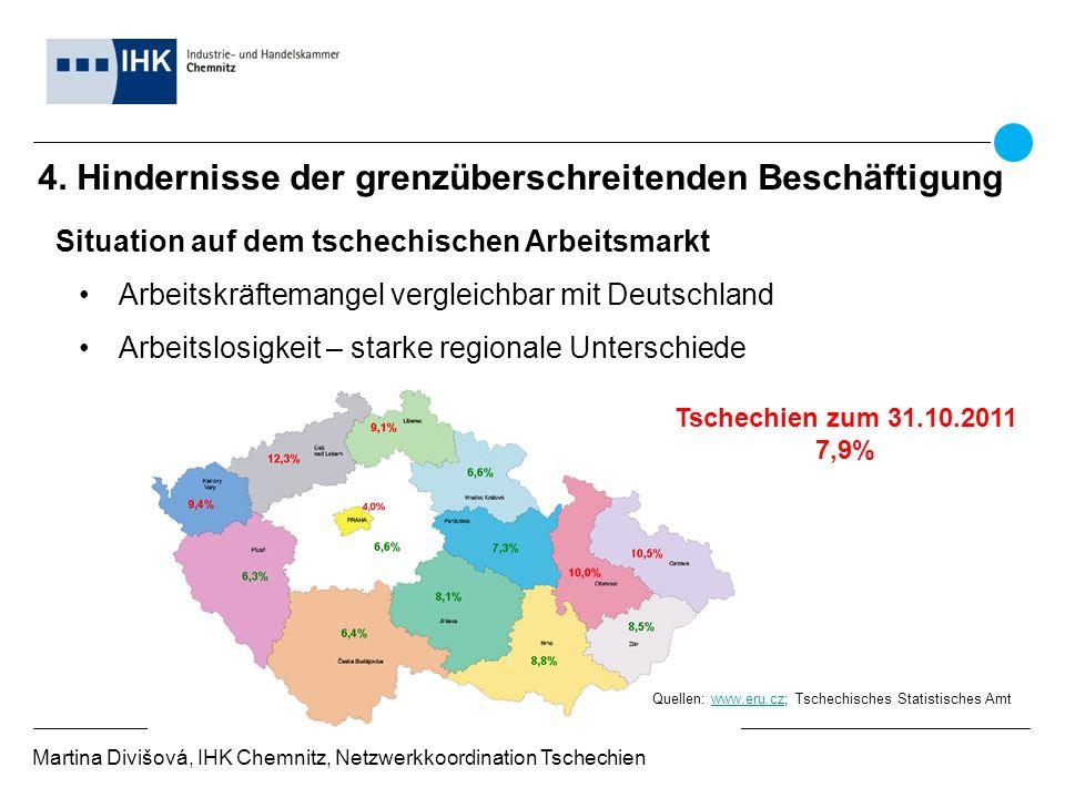 4. Hindernisse der grenzüberschreitenden Beschäftigung Martina Divišová, IHK Chemnitz, Netzwerkkoordination Tschechien Situation auf dem tschechischen