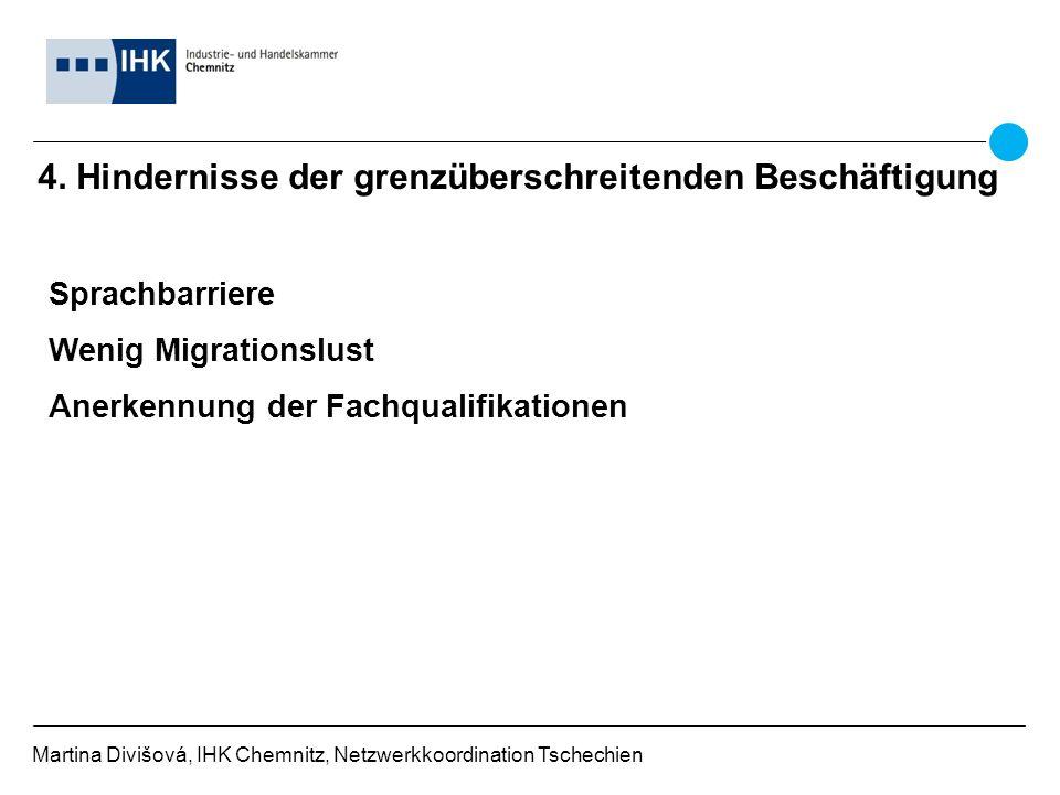 4. Hindernisse der grenzüberschreitenden Beschäftigung Martina Divišová, IHK Chemnitz, Netzwerkkoordination Tschechien Sprachbarriere Wenig Migrations