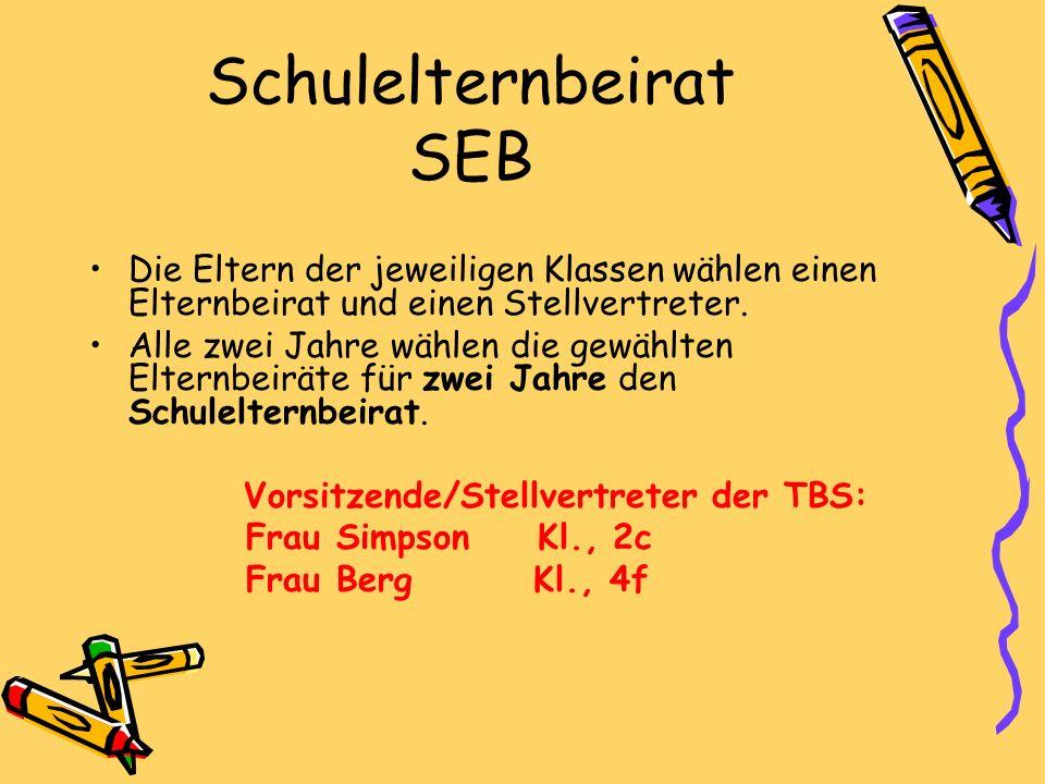 Schulelternbeirat SEB Die Eltern der jeweiligen Klassen wählen einen Elternbeirat und einen Stellvertreter.