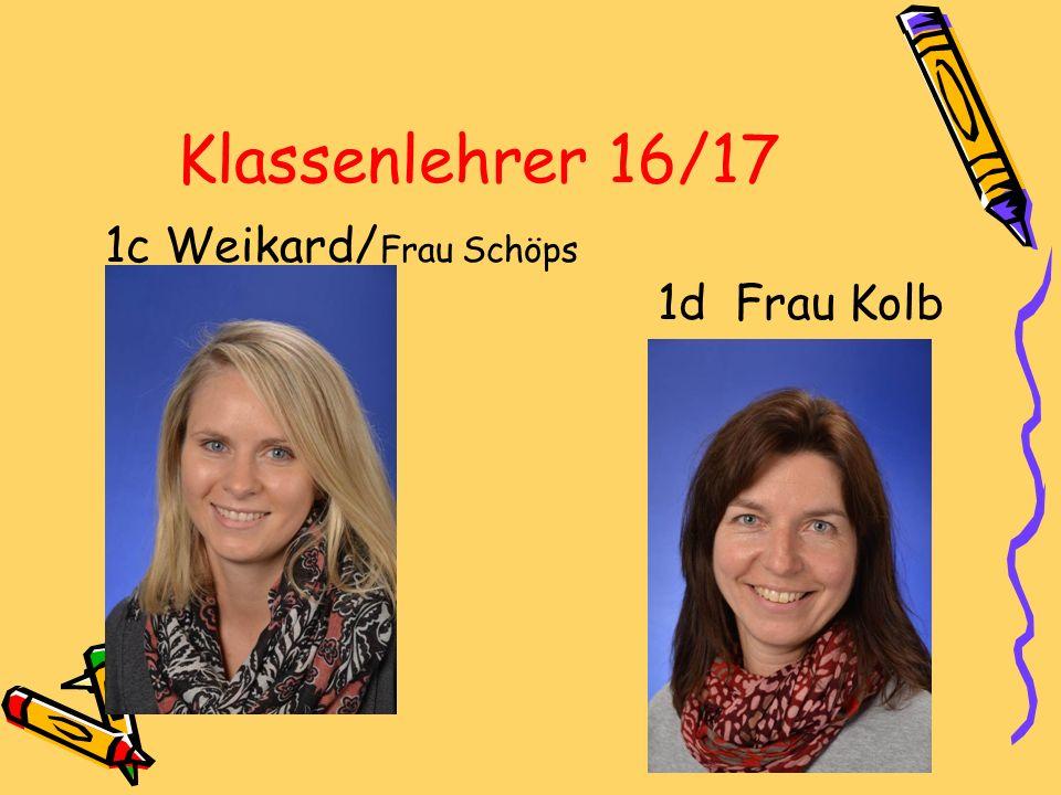 Klassenlehrer 16/17 1c Weikard/ Frau Schöps 1d Frau Kolb