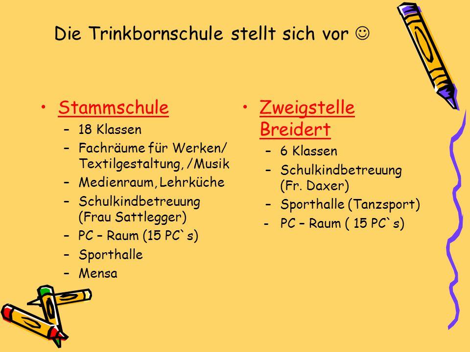 Die Trinkbornschule stellt sich vor Stammschule –18 Klassen –Fachräume für Werken/ Textilgestaltung, /Musik –Medienraum, Lehrküche –Schulkindbetreuung