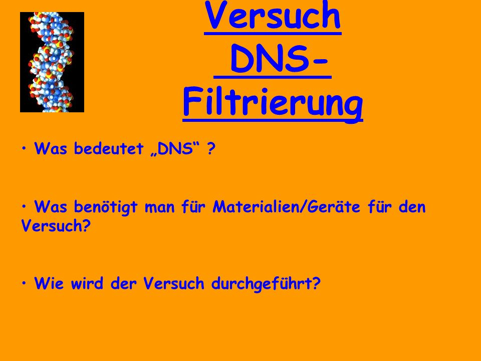 Versuch DNS- Filtrierung Quellen: Fotos made by Liana Winkler aus dem Biologieversuch KS 4 WBK-EL DNS Definition aus www.wikipedia.de