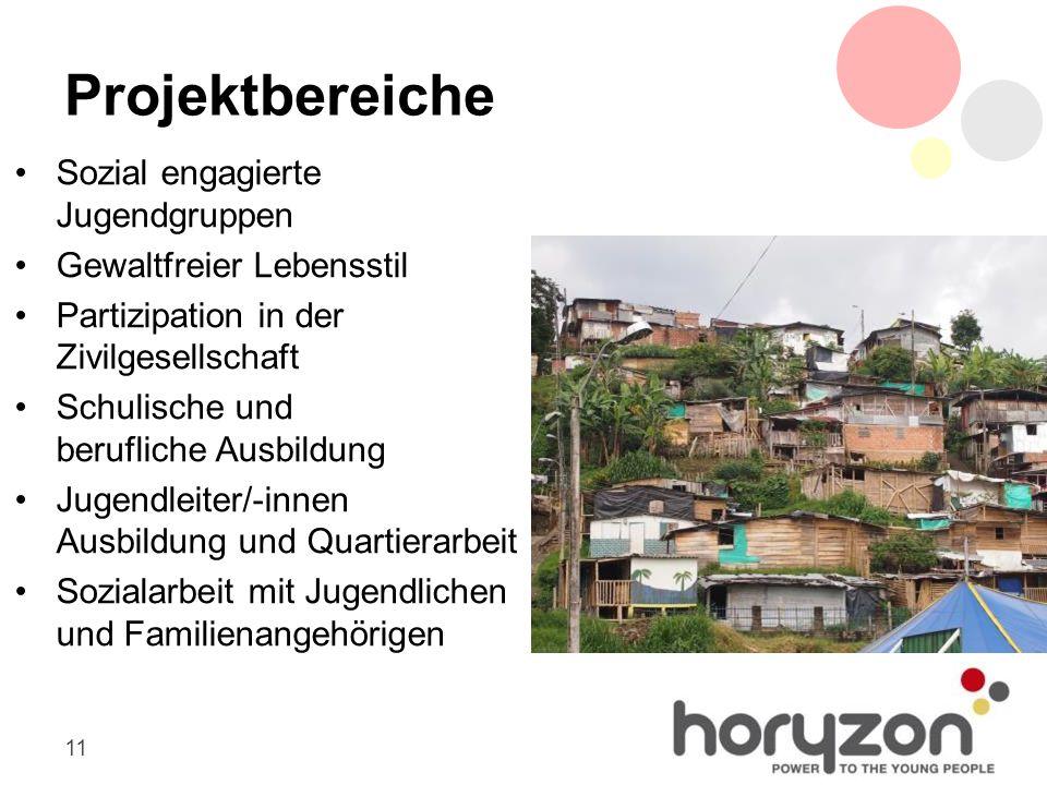 11 Projektbereiche Sozial engagierte Jugendgruppen Gewaltfreier Lebensstil Partizipation in der Zivilgesellschaft Schulische und berufliche Ausbildung