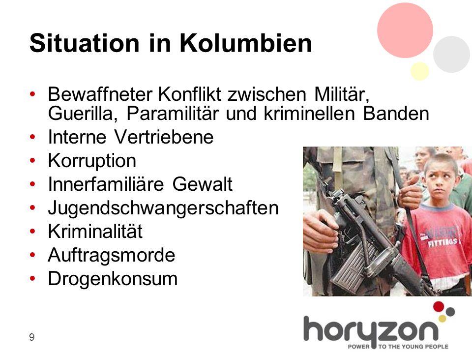 9 Situation in Kolumbien Bewaffneter Konflikt zwischen Militär, Guerilla, Paramilitär und kriminellen Banden Interne Vertriebene Korruption Innerfamil