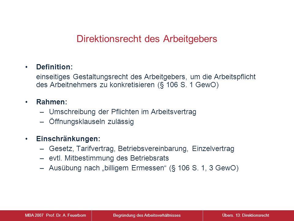 Direktionsrecht des Arbeitgebers Definition: einseitiges Gestaltungsrecht des Arbeitgebers, um die Arbeitspflicht des Arbeitnehmers zu konkretisieren (§ 106 S.