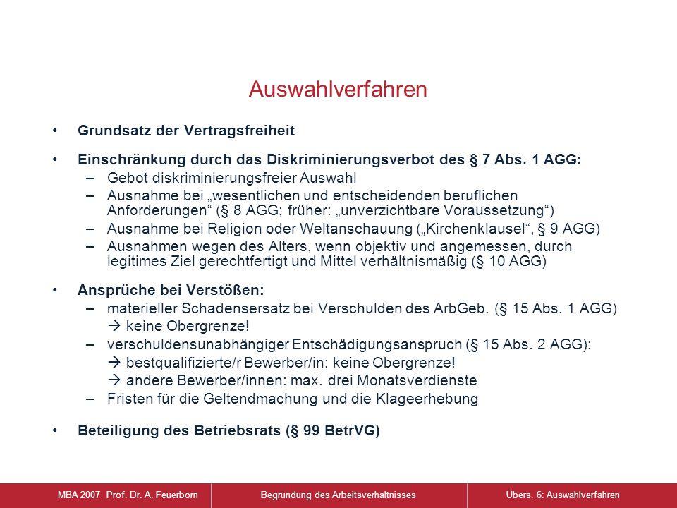 Auswahlverfahren Grundsatz der Vertragsfreiheit Einschränkung durch das Diskriminierungsverbot des § 7 Abs.