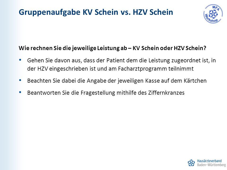 Gruppenaufgabe KV Schein vs.