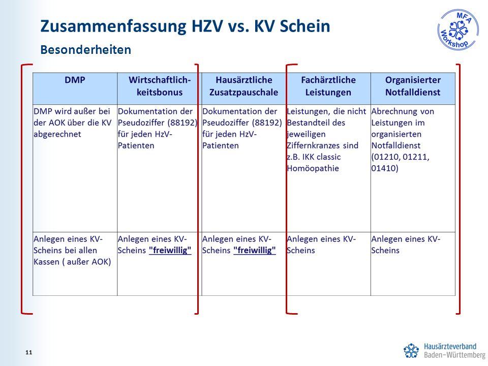 Zusammenfassung HZV vs. KV Schein Besonderheiten 11