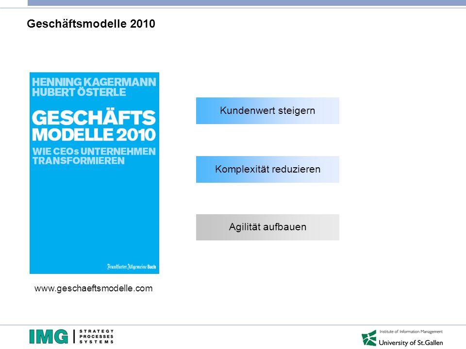 Geschäftsmodelle 2010 www.geschaeftsmodelle.com Kundenwert steigern Komplexität reduzieren Agilität aufbauen