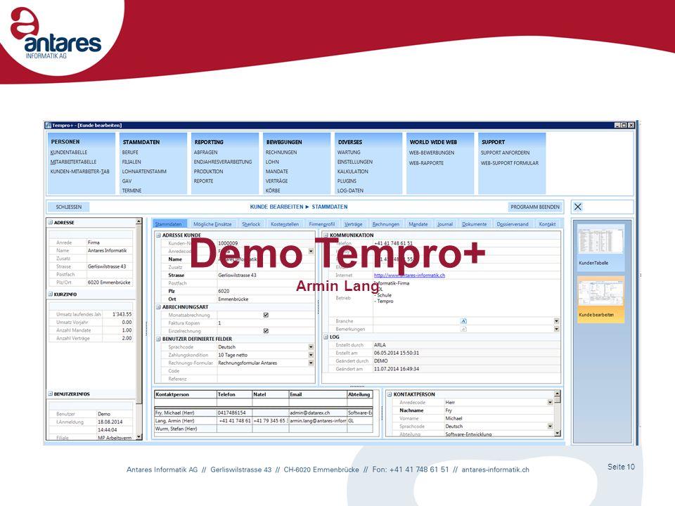 Demo Tempro+ Armin Lang Seite 10