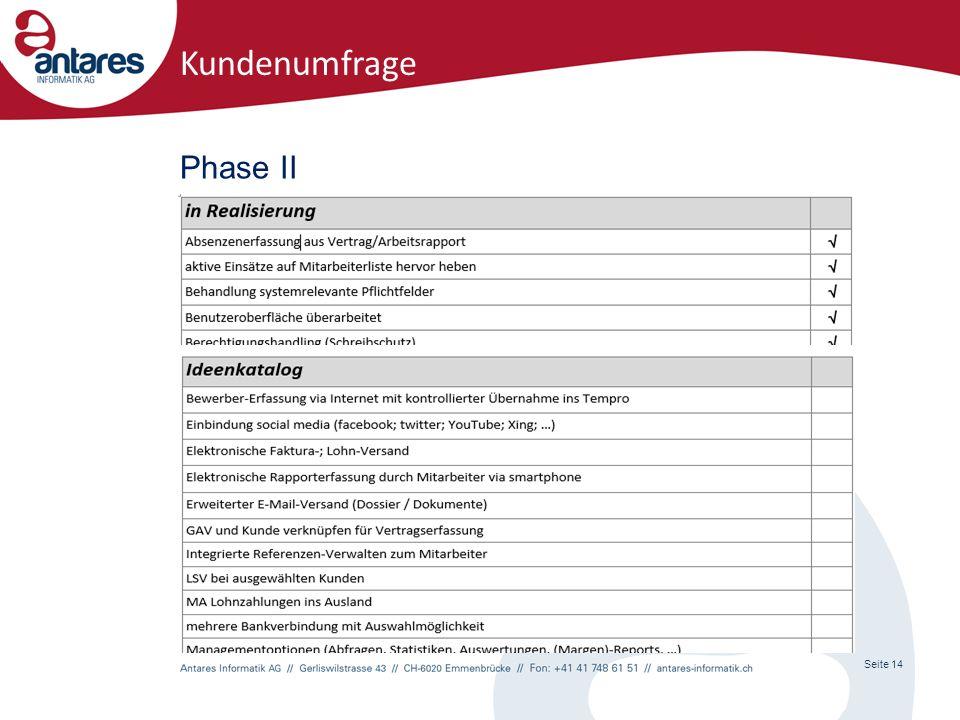 Phase II Seite 14 Kundenumfrage