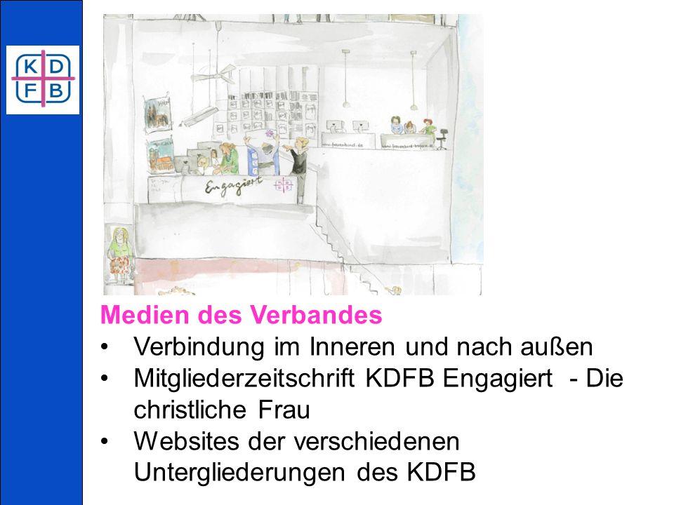 Medien des Verbandes Verbindung im Inneren und nach außen Mitgliederzeitschrift KDFB Engagiert - Die christliche Frau Websites der verschiedenen Untergliederungen des KDFB