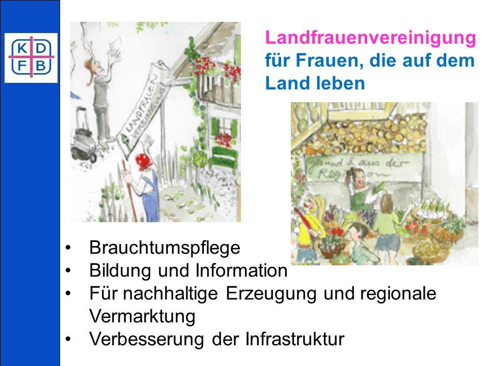 Landfrauenvereinigung für Frauen, die auf dem Land leben Brauchtumspflege Bildung und Information Für nachhaltige Erzeugung und regionale Vermarktung Verbesserung der Infrastruktur