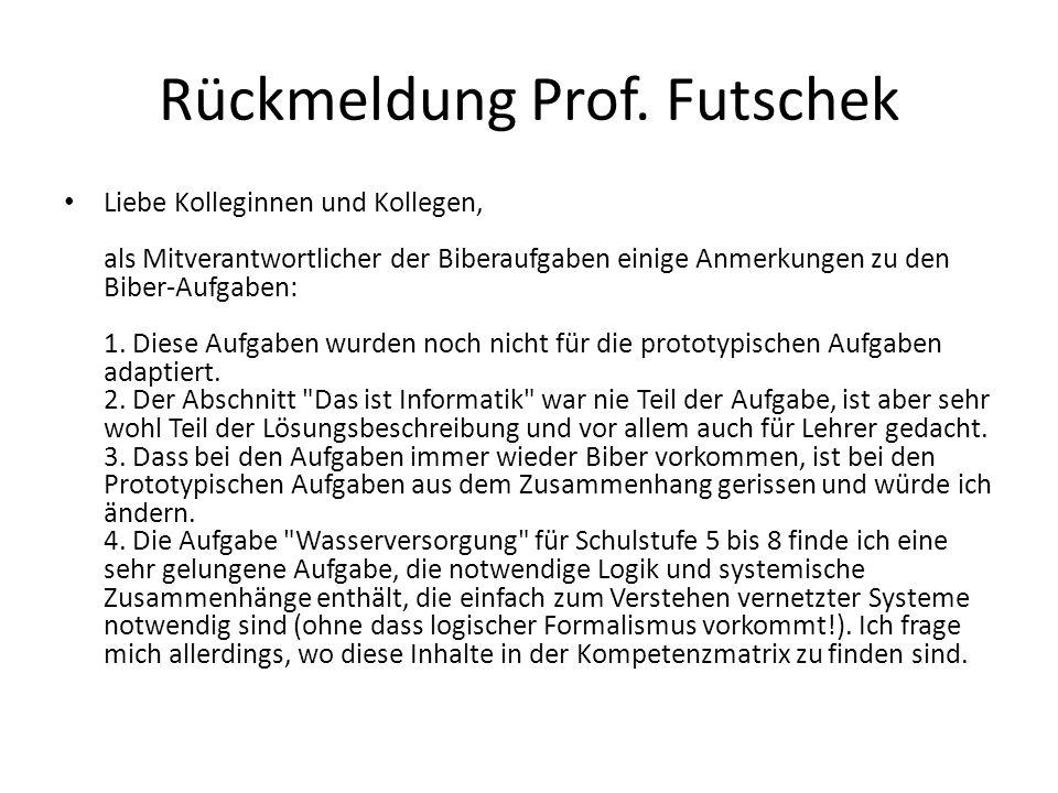 Rückmeldung Prof. Futschek Liebe Kolleginnen und Kollegen, als Mitverantwortlicher der Biberaufgaben einige Anmerkungen zu den Biber-Aufgaben: 1. Dies