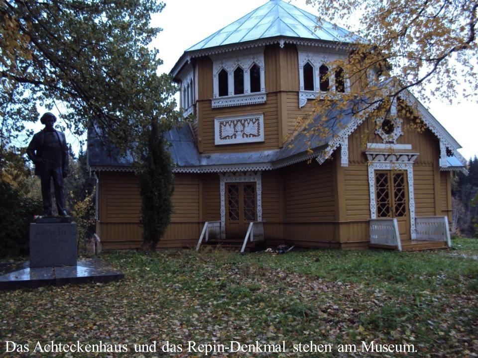 Das Achteckenhaus und das Repin-Denkmal stehen am Museum.