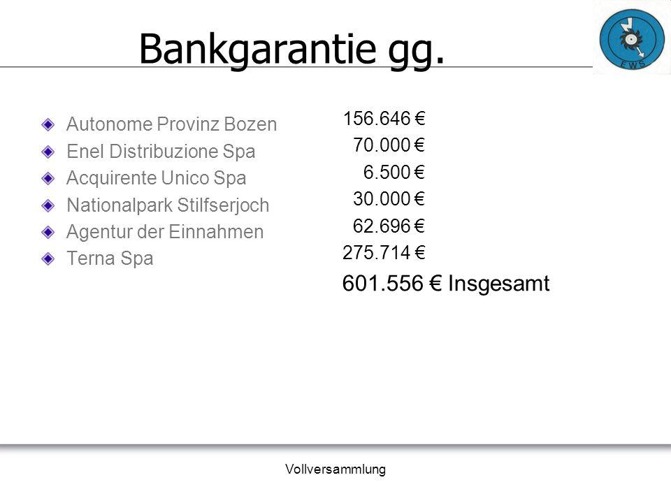 Vollversammlung Vorschlag über die Verwendung des Aktiven Überschusses VERWENDUNG DES ZIVILRECHTLICHEN GEWINNES Gewinn nach Steuern 163.844,40 € gesetzlichen Rücklagen (30%) 49.153,32 € freiwilligen Rücklagen (67%) 109.775,75 € Mutualitätsfond (3%) 4.915,33 €