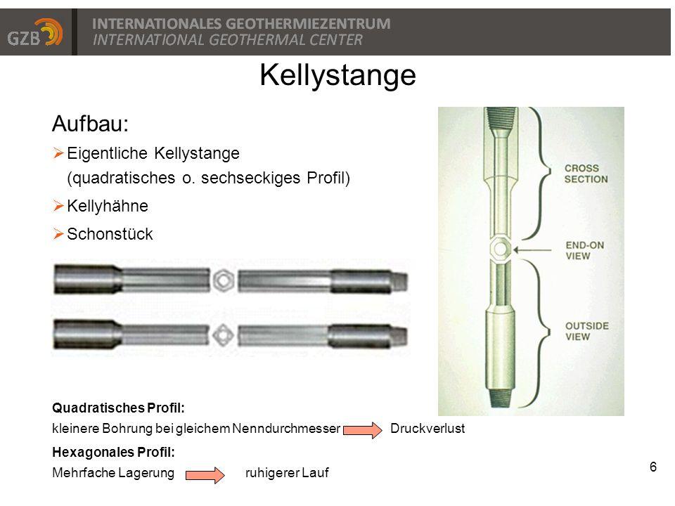 7 Kellystange - Drehmomentübertragung Drehtischhaupteinsatz (master bushing) Mitnehmereinsatz (drive bushing) Drehtisch (rotary table)