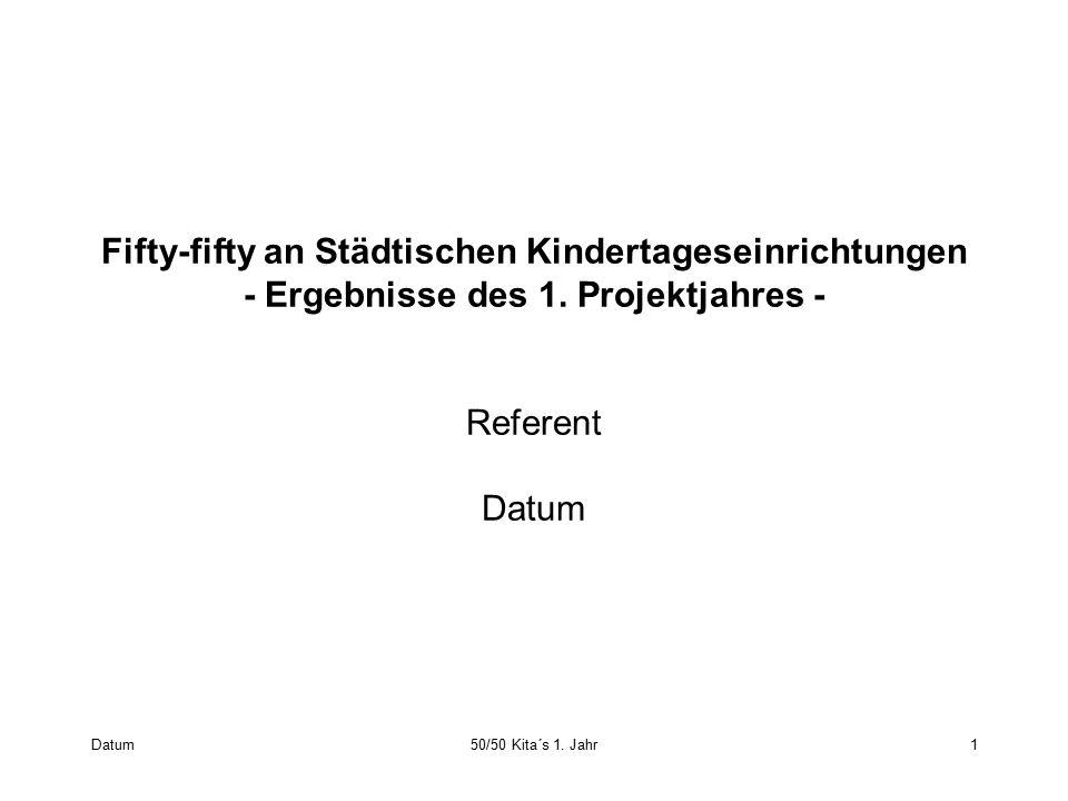 Datum50/50 Kita´s 1. Jahr1 Fifty-fifty an Städtischen Kindertageseinrichtungen ‑ Ergebnisse des 1. Projektjahres ‑ Referent Datum