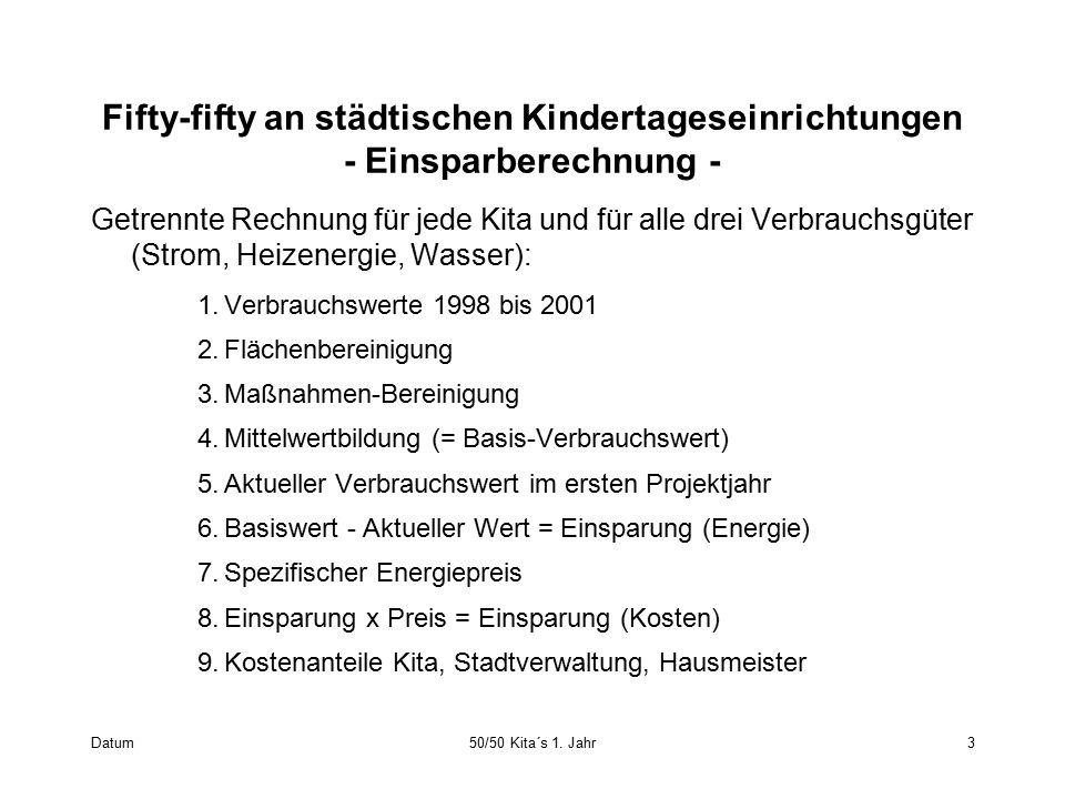 Datum50/50 Kita´s 1.Jahr4 Fifty-fifty an städtischen Kindertageseinrichtungen ‑ Ergebnisse 1 ‑ 1.