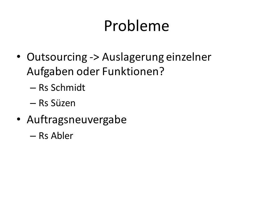 Probleme Outsourcing -> Auslagerung einzelner Aufgaben oder Funktionen.
