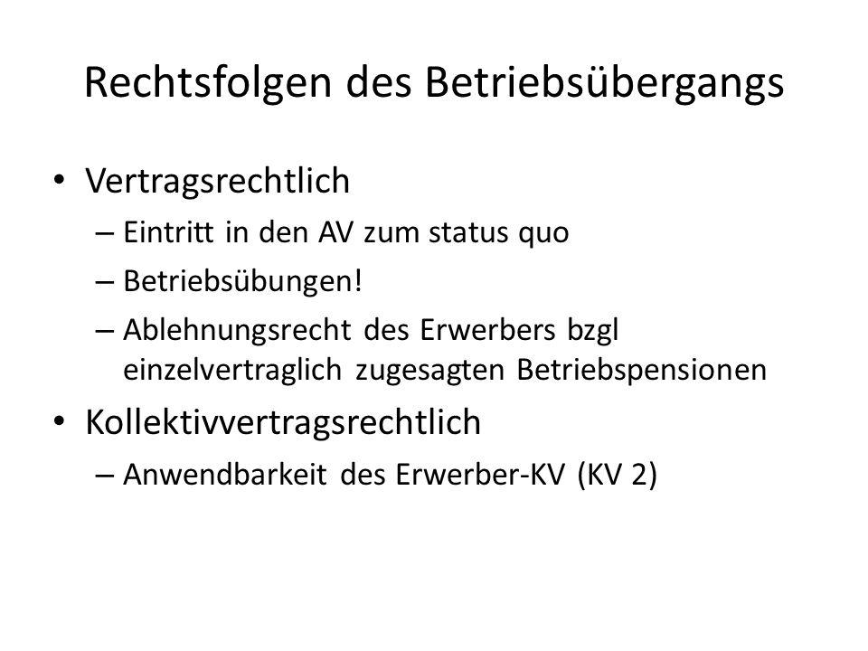 Kollektivvertragliche Ansprüche Anwendbarkeit des Erwerber-KV Unterliegt der Erwerber keinem KV – Weitergeltung des KV 1 auf einzelvertraglicher Basis, Abdingbarkeit nach 1 Jahr Verschlechterung der Arbeitsbedingungen möglich Ausnahme: -> Garantie des Entgelts für die NAZ -> Ist-Lohn gem KV2